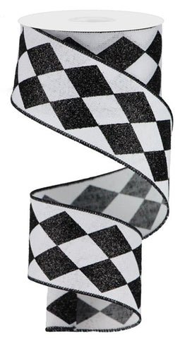 "2""X10YD GLITTER HARLEQUIN CHECK WHITE/BLACK"