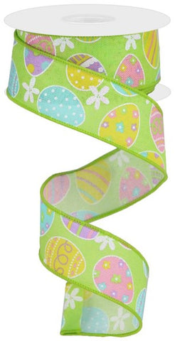 "1.5""X10YD EASTER EGGS ON ROYAL ON BRIGHT GREEN"