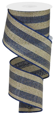 "2.5""X10YD WOVEN ROYAL BURLAP STRIPE TT BLUE/BROWN/CREAM"