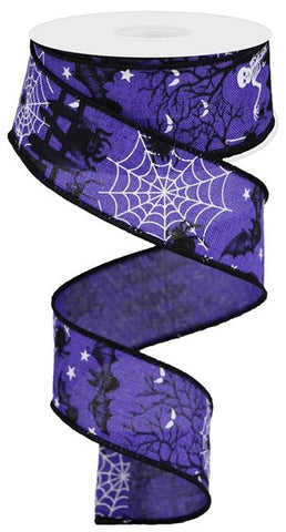 1.5X10YD HALLOWEEN ON ROYAL PURPLE/BLK/WHT