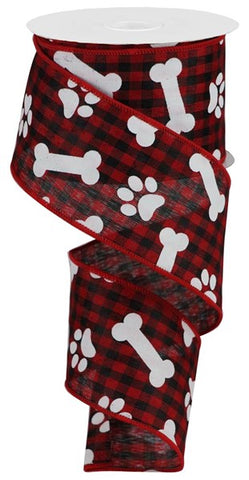 "2.5""X10YD PAWPRINTS/BONES GINGHAM CHECK RED/BLK/WHT"