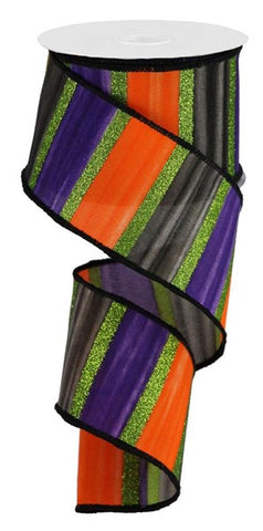 "2.5""X10YD WATERCOLOR STRIPES PURPLE/BLK/ORNG/LIME"