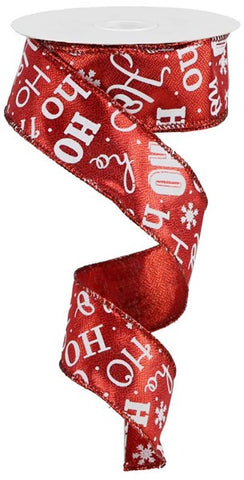 "1.5""X10YD HO HO HO METALLIC RED/WHITE"