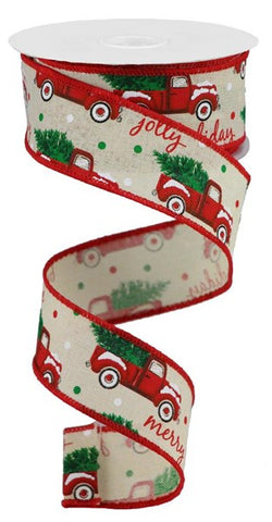 "1.5""X10YD CHRISTMAS TRUCKS ON ROYAL CREAM/WHITE/RED/GREEN"