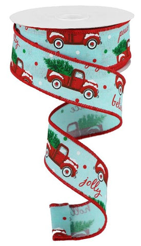 "1.5""X10YD CHRISTMAS TRUCKS ON ROYAL ICE BLUE"