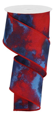 "2.5""X10yd Watercolor Blend red/white/blue"