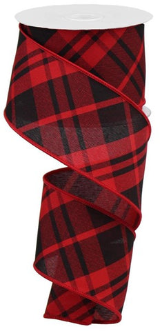"2.5""X10yd Printed Diagonal Plaid red black"