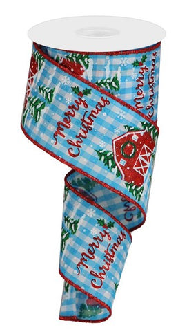 "2.5""X10YD CHRISTMAS BARN ON CHECK BLUE"