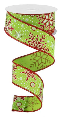 "1.5""X10YD SNOWFLAKES LIME/WHITE/RED"