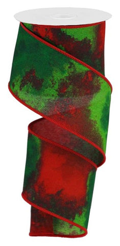 "2.5""X10yd Watercolor Blend/Pg Fabric CREAM/RED/LIME/GRN/EMERALD"