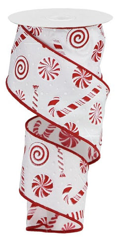 "2.5""X10YD CANDY CANE/PEPPERMINT ON WHITE"