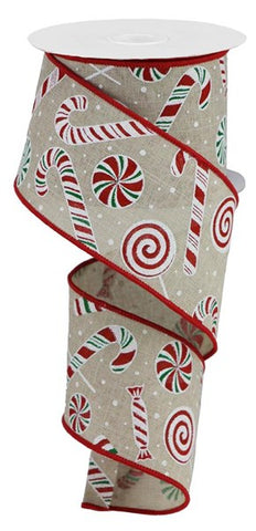"2.5""X10YD CANDY CANE/PEPPERMINT ON LT NATURAL"