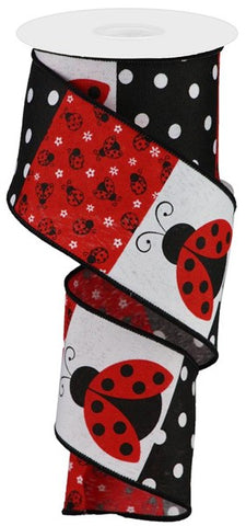"2.5""X10YD LADYBUG BLOCK PATTERN/ROYAL WHITE"