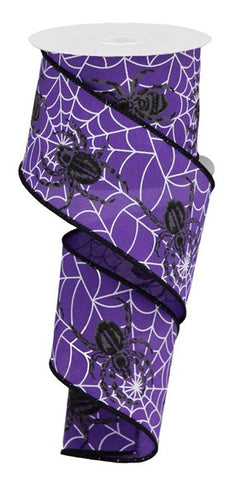 "2.5""X10YD SPIDER WEB/SPIDER ON PG FABRIC PURPLE"