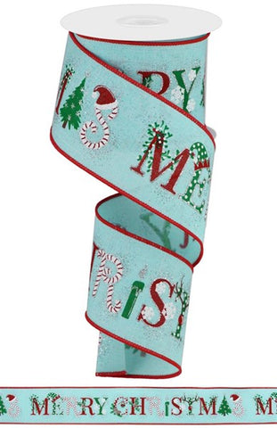 "2.5""X10YD MERRY CHRISTMAS IMAGES BLUE"