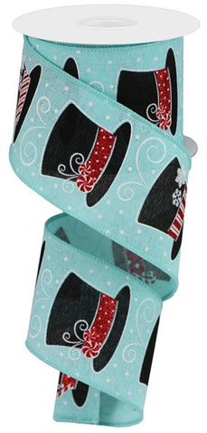 "2.5""X10YD SNOWMAN HATS ON ICE BLUE/RED/WHITE/SILVER/BLK"