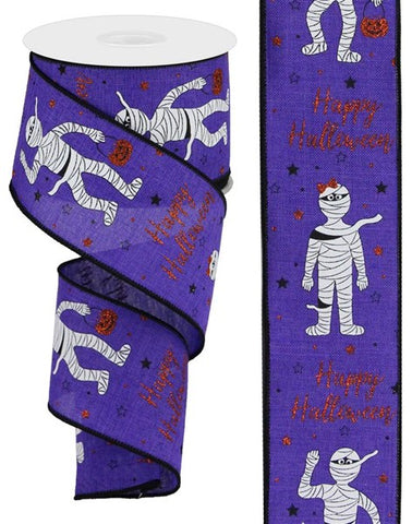 "2.5""X10 HAPPY HALLOWEEN GLITTER MUMMIES PURPLE"