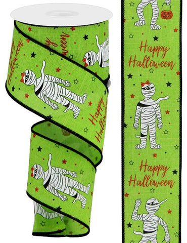 "2.5""X10 HAPPY HALLOWEEN GLITTER MUMMIES LIME GREEN"