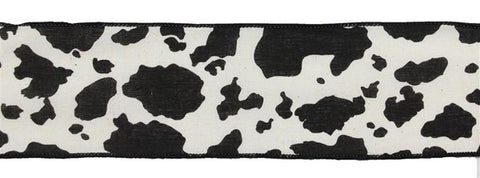 "2.5""X10YD COW PRINT ON COTTON CREAM/BLK"