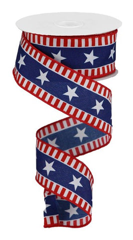 "1.5""X10yd Bold Stars And Stripes RED/WHITE/BLUE"