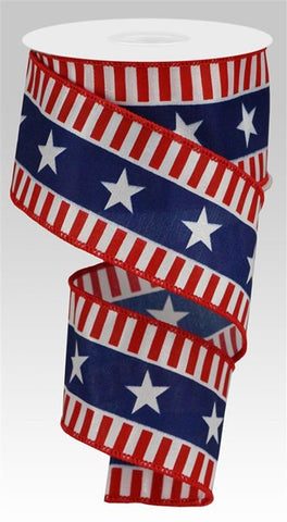 "2.5""X10YD BOLD STARS/STRIPES ON SATIN WHITE/RED/BLUE"