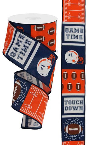 "2.5""X10yd Football Block Pattern NAVY/ORANGE/BROWN"