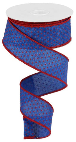 "1.5""X10YD SWISS DOTS ON BURLAP ROYAL BLUE/RED"