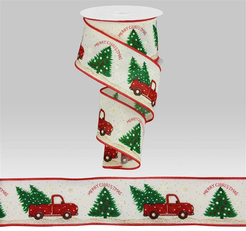 "2.5""X10yd Merry Christmas Truck W/Trees"