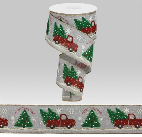 "2.5""X10yd Merry Christmas Truck W/Trees on Grey"