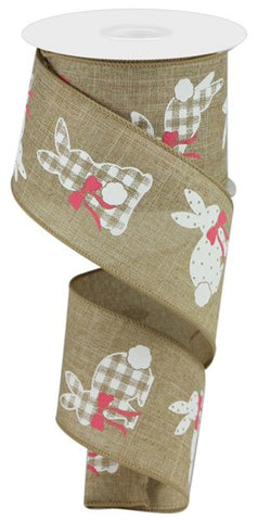 "2.5""X10YD PATTERNED BUNNIES ON ROYAL LT BEIGE/WHITE/PINK"