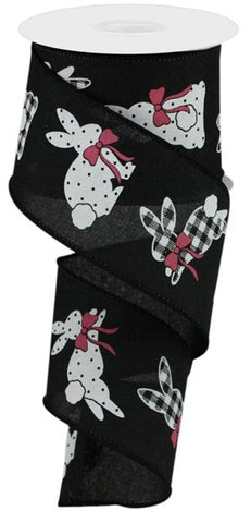 "2.5""X10YD PATTERNED BUNNIES ON ROYAL BLACK/WHITE/PINK"