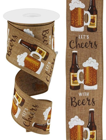 "2.5""X10YD CHEERS WITH BEERS ON DARK NATURAL"
