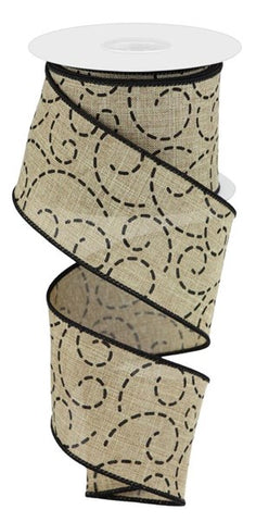 "2.5""X10YD DASHED SWIRLS LT BEIGE/BLK"
