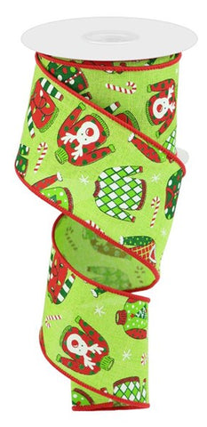 "2.5""X10YD UGLY CHRISTMAS SWEATERS ROYAL LIME/WHT/RED/GRN/BLK"