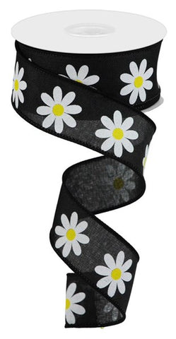 "1.5""X10YD DAISY ON ROYAL BLACK"