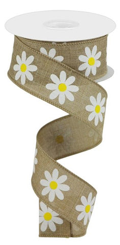 "1.5""X10YD DAISY ON ROYAL LT BEIGE"