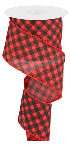 "2.5""X10YD BIAS GINGHAM PATTERN RED/BLACK"