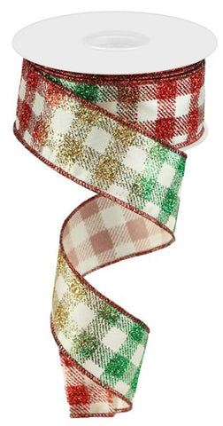 "1.5""X10YD GLITTERED GINGHAM CHECK IVORY/RED/EMERALD/GOLD"