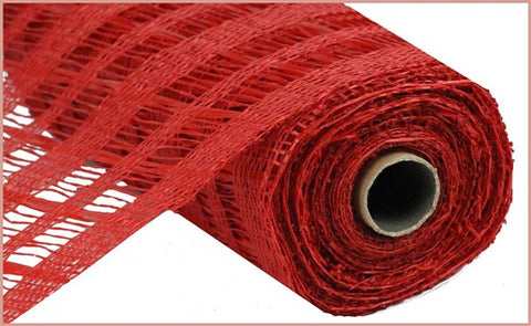 "10""X10 POLY BURLAP STRIPE MESH RED"