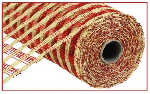 RED AND BEIGE NETTING MESH 10""