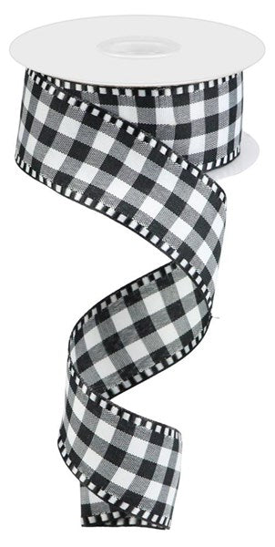 "1.5""X10yd Gingham Check Black/White"