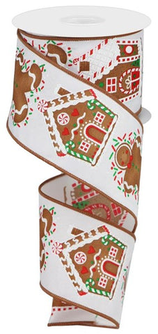 "2.5""X10YD GINGERBREAD/SPRINKLES WHITE/BROWN/RED/GREEN"