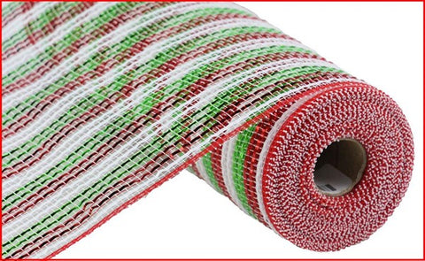 "10"" FOIL STRIPE MESH WHITE GREEN RED"