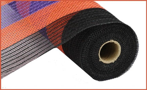 "10.5"" JUTE POLY MESH BLK/ORANGE/PURPLE"
