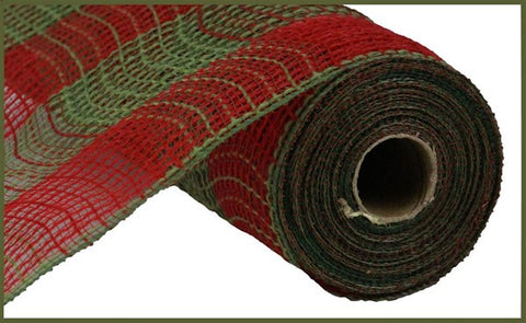 "10.5""X10YD FAUX JUTE/PP LARGE CHECK RED/MOSS GREEN"