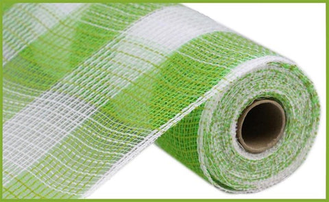 "10.5""X10YD FAUX JUTE/PP LARGE CHECK FRESH GREEN/WHITE"