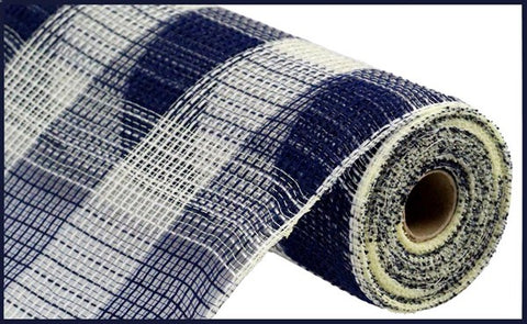 "10.5""X10YD FAUX JUTE/PP LARGE CHECK NAVY/CREAM"