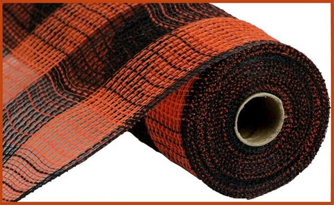 "10.5""X10yd Faux Jute/Pp Large Check Black/Orange"