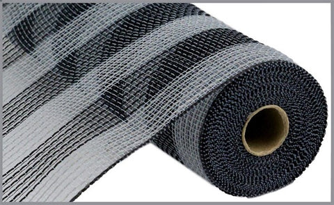 "10.5""X10YD FAUX JUTE/PP SMALL STRIPE GRAY/BLACK"