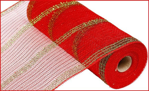"10.5""X10yd Wide Tinsel/Pp/Foil Mesh Red/Lime"